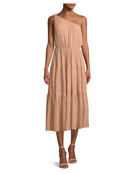Tenley One Shoulder Tiered Silk Midi Dress by A.L.C.