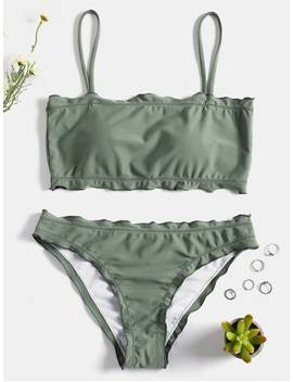 Lettuce Trim Cami Bikini Set   Frog Green M by Zaful