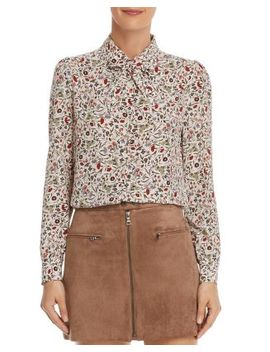 Tie Detail Floral Silk Blouse by Frame