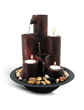 Serene Life Desktop Waterfall Fountain (3 Tier) | Cascading Tabletop Water Decoration | Indoor, Outdoor, Patio Or Garden Use | 3 Candles And River Rocks Included. by Serene Life
