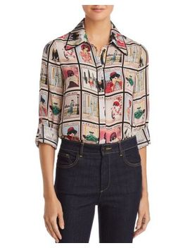 Santana Printed Silk Blouse by Alice And Olivia