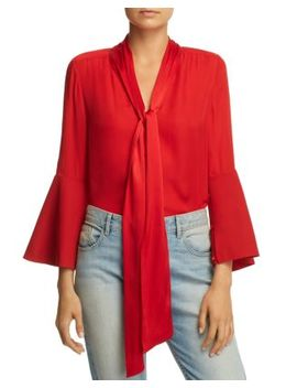 Merideth Tie Neck Bell Sleeve Top by Alice And Olivia