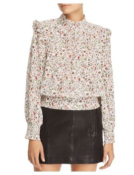 Smocked Floral Print Silk Top by Frame