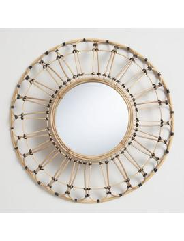 Round Natural And Black Rattan Wall Mirror by World Market