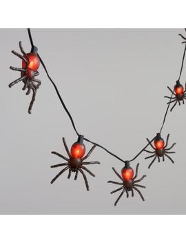 Black Tarantula Spiders 10 Bulb Flickering String Lights by World Market