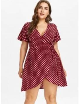 Plus Size Mini Polka Dot Wrap Dress   Red Wine 4x by Zaful