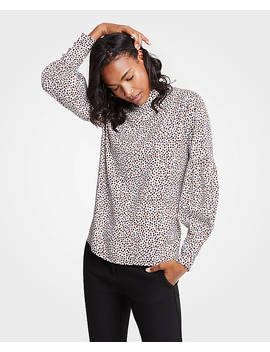 Dots Mock Neck Lantern Sleeve Blouse by Ann Taylor