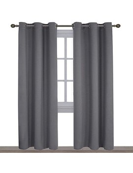Nicetown Three Pass Microfiber Noise Reducing Thermal Insulated Solid Ring Top Blackout Window Curtains/Drapes (Two Panels,42 X 84 Inch,Gray) by Nicetown