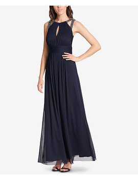 Pleated Rhinestone Embellished Gown by Jessica Howard