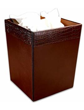 Dacasso Brown Crocodile Embossed Leather Waste Basket by Dacasso