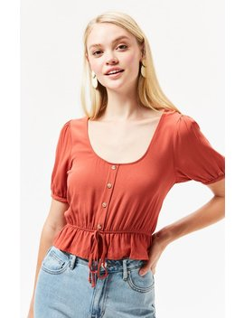 Lottie Moss Button Down Cinched Waist Top by Pacsun