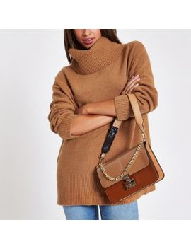 Brown Oversized Roll Neck Sweater by River Island