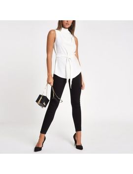 White Roll Neck Belted Top by River Island