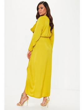 Plus Size Chartreuse Wrap Knot Front Dress by Missguided