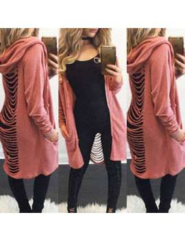 Women Long Sleeve  Hooded Sweater Zipper Cardigan Jacket Casual Ripped Long Coat by Unbranded