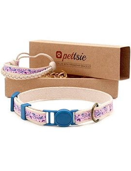 Pettsie Cat Collar Breakaway Safety And Friendship Bracelet For You, Durable 100 Percents Cotton For Extra Safety, D Ring For Accessories, Comfortable And Soft Cotton, Easy Adjustable 7.5 11.5 Inch by Pettsie