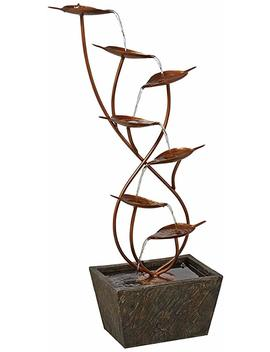 """Ashton Curved Leaves 41"""" High Copper Finish Floor Fountain by John Timberland"""