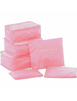 6 Set Packing Cubes,Travel Luggage Organizer 3 Travel Cubes + 3 Pouches (Light Pink) by Freyry