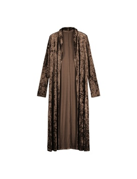 Women's Velvet Long Sleeve Casual Cardigan Long Jumper Coat Jacket Trench Parka by Unbranded