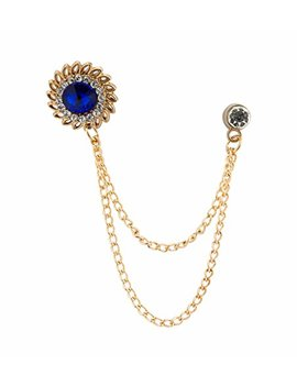 Knighthood Men's Royal Blue Stone With Inspired Swarovski Detailing Hanging Chain Lapel Pin/Brooch Golden by Knighthood