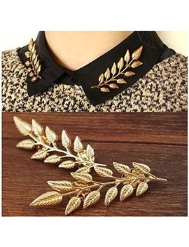 Minghua Gentlemen Suit Brooches Simple Elegant Double Leaf Collar Pin Brooch Gold Silver Plant Brooch by Minghua