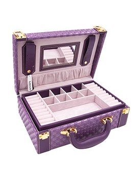 Misylph Multifunctional Two Layer Woven Leather Jewelry Box Organizer With Handle (Purple) by Misylph