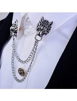 1pc Silver Chain Dragon Wolf Tiger Brooches Collar Pins Ginkgo Biloba Lapel Pin Brooch Pins Men by Amazon
