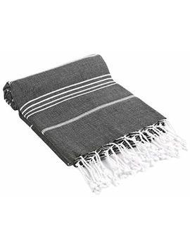 Cacala 100 Percents Cotton Pestemal Turkish Bath Towel, 37 X 70, Black by Cacala