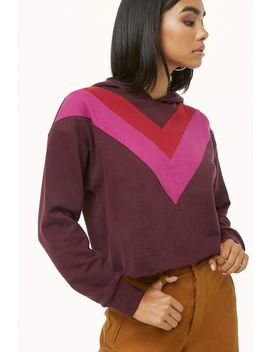 Chevron Colorblock Hoodie by Forever 21