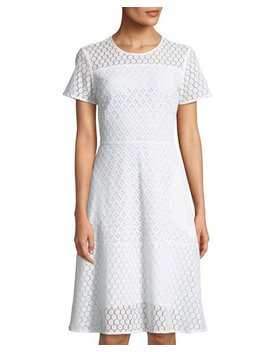 Lace Illusion Fit & Flare Dress by Michael Michael Kors