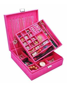 Q Beel Jewelry Organizer Double Layer 36 Compartments Lint Jewelry Box Jewelry Holder With Lock For Earrings Bracelets Necklaces Rings Watches  Rose Pink by Q Beel