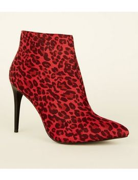Red Leopard Print Pointed Suedette Boots by New Look
