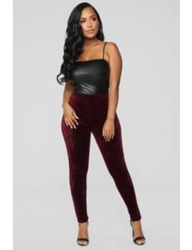 Softest Feel Velour Leggings   Burgundy by Fashion Nova