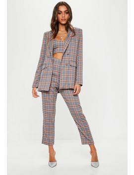 Grey Double Breasted Check Blazer by Missguided