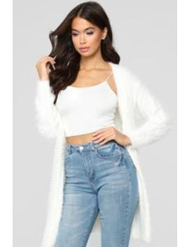 Oksana Fuzzy Duster   Ivory by Fashion Nova