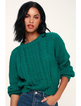 Whistler Jade Green Cable Knit Sweater by Lush