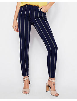Mid Rise Ticking Stripe Skinny Pant by Express