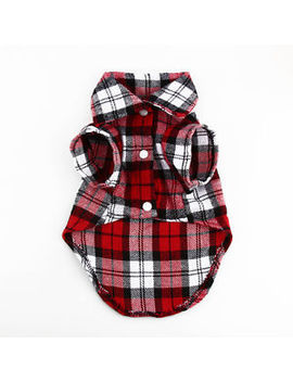 Fashion Small Pet Dog Puppy Plaid T Shirt Lapel Coat Cat Jacket Clothes Costume by Unbranded