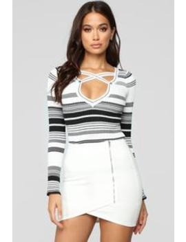 Count Me In Sweater   Black/White by Fashion Nova