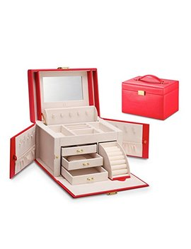 Vlando City Beauty Medium Jewelry Box, Faux Leather Jewelry Organizer Gift For Women  Red by Vlando