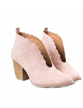Shopglamla Women's Scalloped V Cut Boots Bootie by Shopglamla