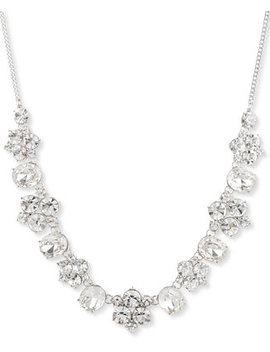 """Silver Tone Crystal Statement Necklace, 16"""" + 3"""" Extender by Givenchy"""