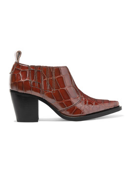 Nola Croc Effect Leather Ankle Boots by Ganni