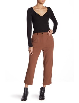 Button Front Pleat Ankle Pants by Good Luck Gem