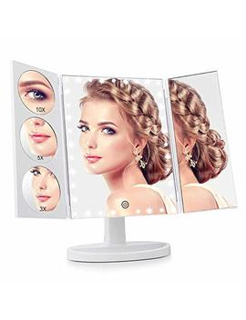 Easehold 35 Led Lighted Vanity Makeup Mirror Tri Fold With 3 X 5 X 10 X Magnifiers 360 Degree Free Rotation Countertop Bathroom Cosmetic by Easehold