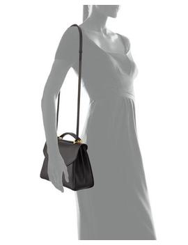 Small Gancio Vela Soft Flap Top Handle Bag, Nero by Salvatore Ferragamo