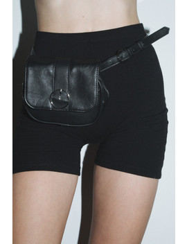 Black And Silver Circle Buckle Leather Fanny Pack by Brandy Melville