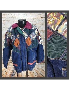 Vintage 90's Mom Jean Jacket   Vintage Denim Jacket   Women's Vintage Puffy Denim And Corduroy Coat   80's 90's Denim Tribal Print Jacket Xl by Etsy