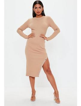 Nude Long Sleeve Popper Asymmetric Dress by Missguided