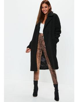Black Chunky Borg Crombie Coat by Missguided